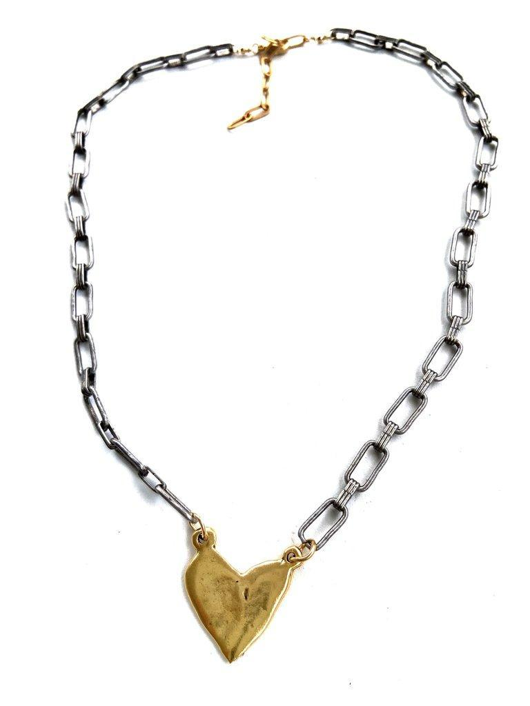 CV Designs Mixed Metal Abstract Heart Necklace
