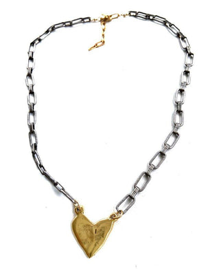 CV Designs Mixed Metal Abstract Heart Necklace - 13 Hub Lane   |