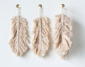 Cotton Knotted Hanging Feather - 13 Hub Lane   |