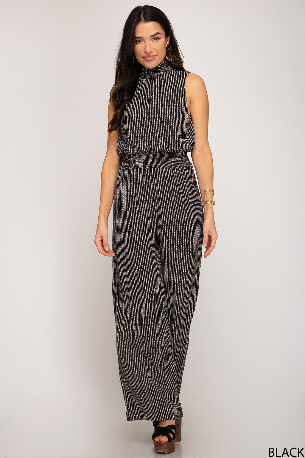 Mock Neck Wide Leg Jumpsuit
