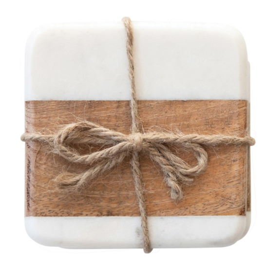 Marble & Wood Coasters, S/4 - 13 Hub Lane   |