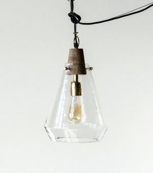 Wood & Hand-Blown Glass Pendant Lamp - 13 Hub Lane   |  Pendant