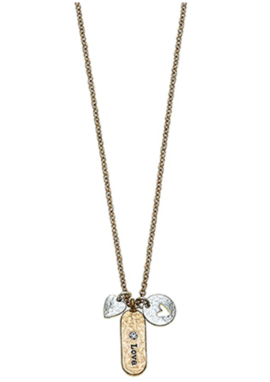 Samantha Heart Charm Necklace In Worn Gold & Worn Silver - 13 Hub Lane   |  Necklace
