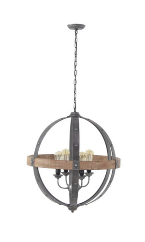 Modern Iron And Fir Wood Sphere Pendant Lamp - 13 Hub Lane   |  Pendant