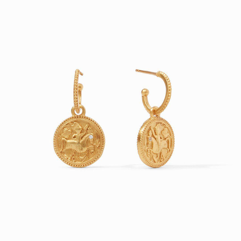 Julie Vos Coin Hoop & Charm Earrings