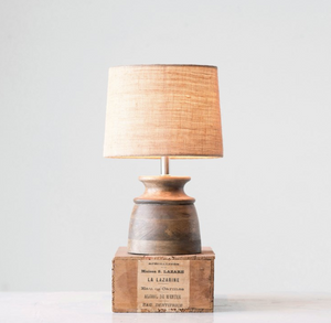 Wood With Jute Shade Table Lamp - 13 Hub Lane   |  Table Lamp