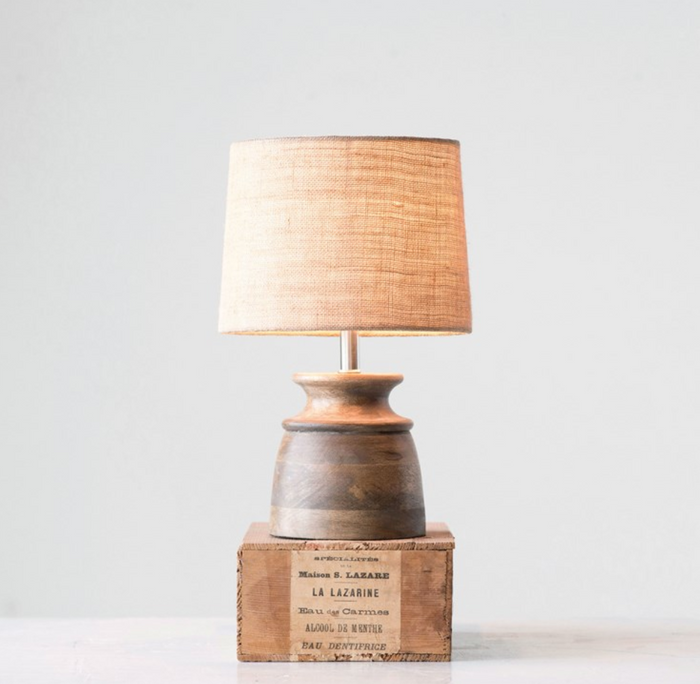 Wood With Jute Shade Table Lamp