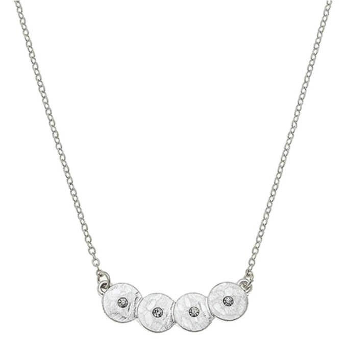 Jenna Discs Bar Necklace In Worn Silver - 13 Hub Lane   |  Necklace
