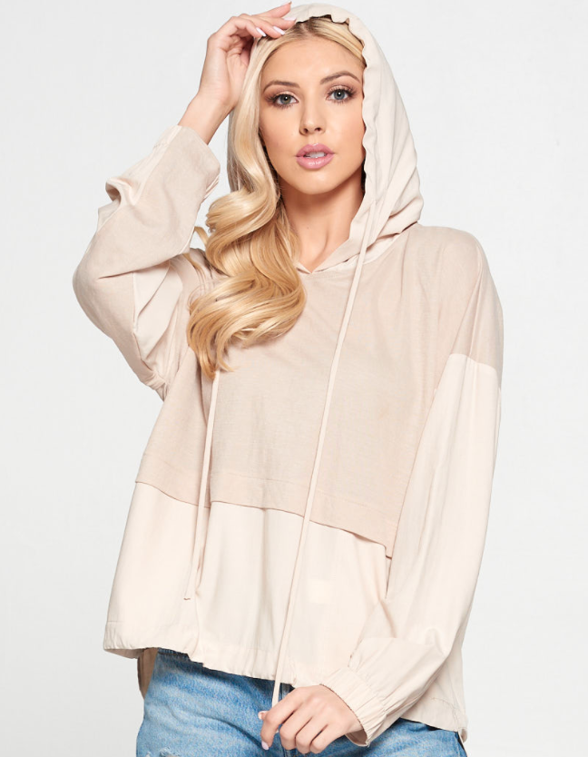 Two-Tone Drawstring Hoodie - 13 Hub Lane   |