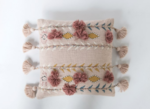 Pink Embroidered Pillow - 13 Hub Lane   |  Decorative Pillow