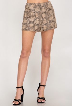 Snake Faux Suede Shorts - 13 Hub Lane   |