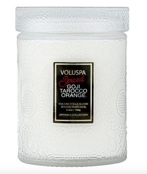 Voluspa 5.5 oz Spiced Goji Tarocco Orange Small Jar Candle - 13 Hub Lane   |  Candle