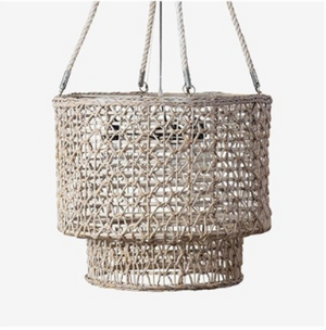 Double Barrel Hand Woven Natural Rope Chandelier - 13 Hub Lane   |  Chandelier