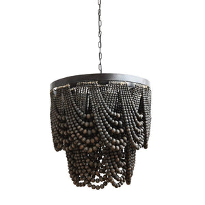 Black Wooden Beaded Chandelier - 13 Hub Lane   |