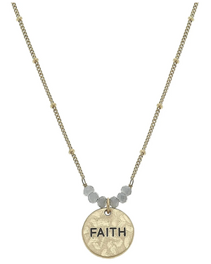 Faith Disc Necklace - 13 Hub Lane   |  Necklace