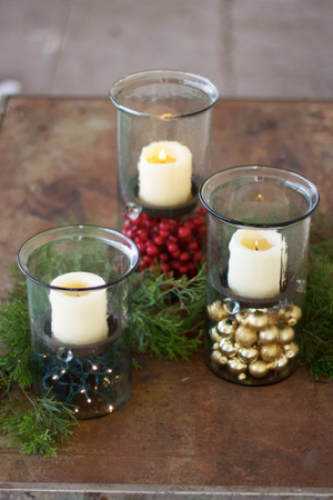 Mini Glass Candle Cylinder With Rustic Insert - 13 Hub Lane   |  Candle Holder