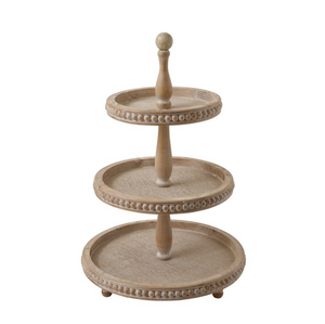 Decorative Wood 3-Tier Tray
