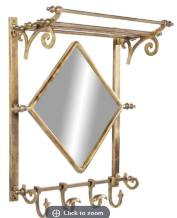 Wall Mirror UMA Aluminum Brass Shelf