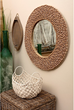 Siena Wood Bead Mirror - 13 Hub Lane   |