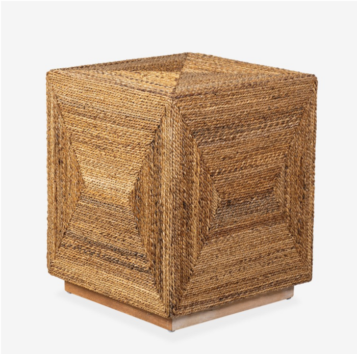 Soren Braided Seagrass Cube Accent Table