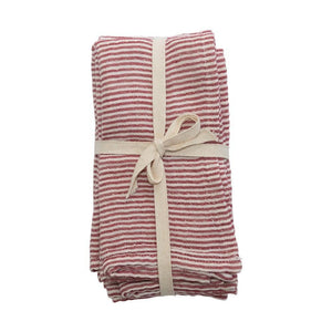 Striped Red & Cream Napkins, Set of 4