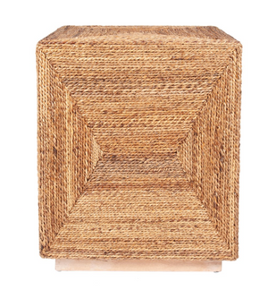 Soren Braided Seagrass Cube Accent Table - 13 Hub Lane   |  Side/Accent Table