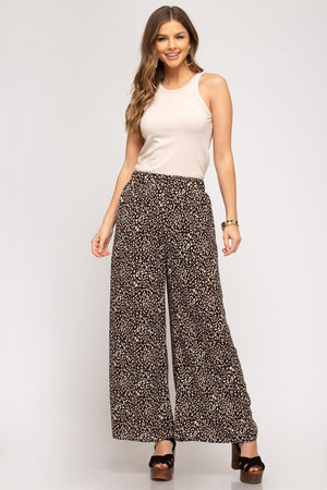 Animal Print Wide Leg Pants - 13 Hub Lane   |