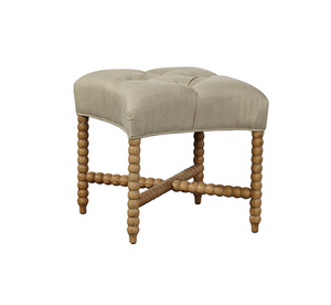 Tufted Linen Stool - 13 Hub Lane   |