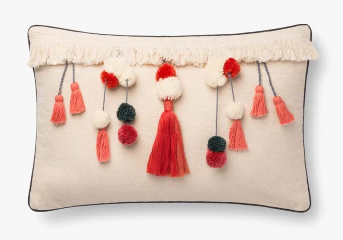 Natural/Coral Pillow