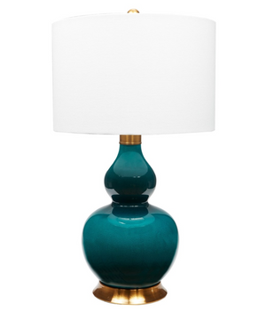 Porcelain Emerald Green Lamp - 13 Hub Lane   |  Table Lamp