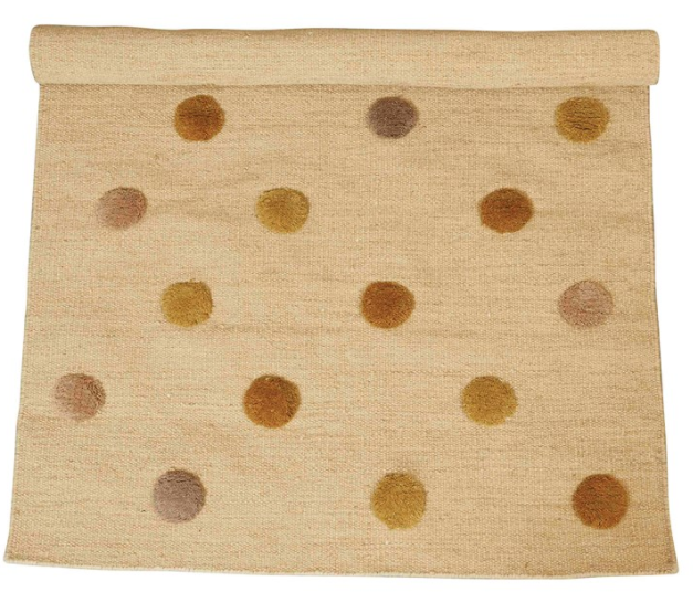 Woven Wool Blend Rug w/ Tufted Multi Color Dots - 13 Hub Lane   |
