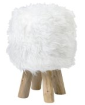 Tibetan Faux Fur Stool - 13 Hub Lane   |  Stool