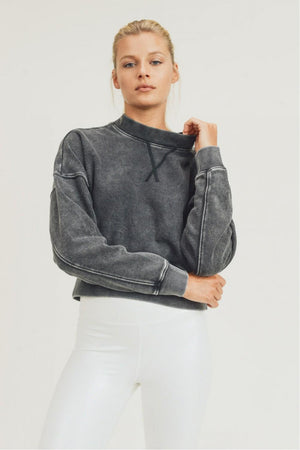 Mineral-Washed Cropped Pullover