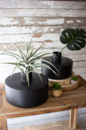Waxed Black Metal Vases - 13 Hub Lane   |