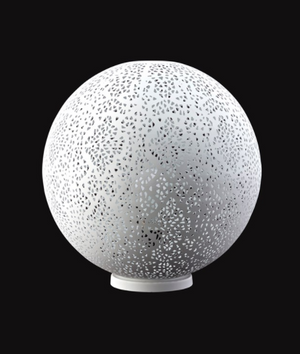 White Perforated Globe Lamp