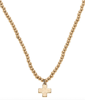 Cross Ball Bead Necklace In Worn Gold - 13 Hub Lane   |  Necklace