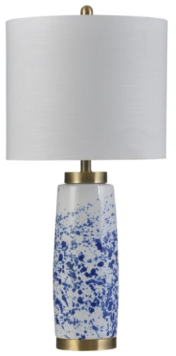058-Table Lamp - Splatter Blue/ceramic & Steel - 13 Hub Lane - Style Craft Table Lamp