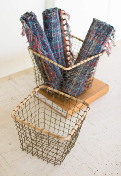 Square Wire Baskets with Bamboo Rims