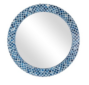 "Mirror JF Luciana 33"" Bone Inlay Blue"