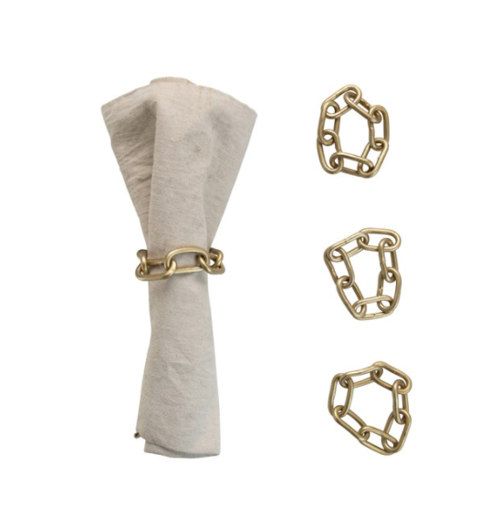 Metal Chain Napkin Rings with Leather Tie