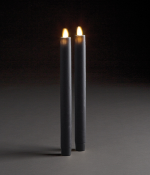 Grey Moving Flame Tapered Candle, Set of 2 - 13 Hub Lane   |  Candle