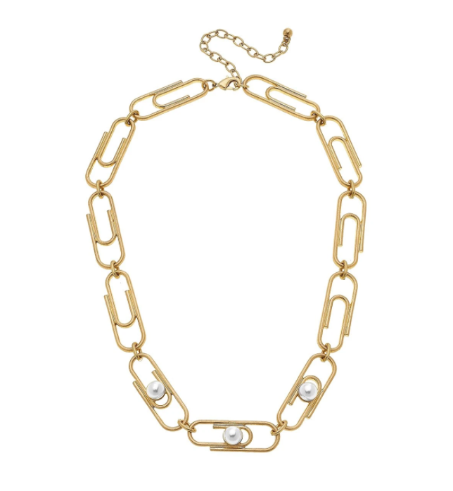Trendsetter Paperclip Necklace In Ivory Pearl - 13 Hub Lane   |