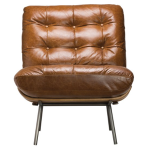 "Tufted Leather Chair 35.75""W x 24.75""D x 31.5""H - 13 Hub Lane   