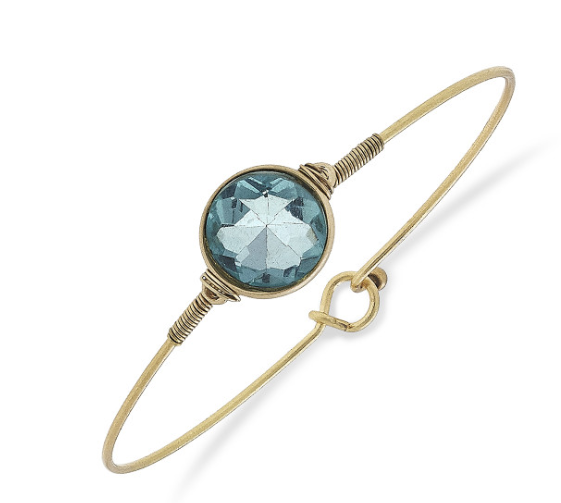 023-Bracelet Brinkley Round Latch Bangle Aqua/Gold