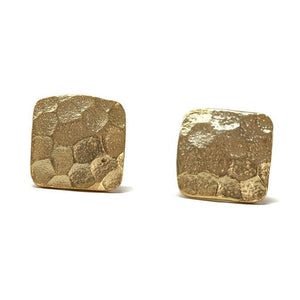 Gold Square Stud Earrings - 13 Hub Lane   |