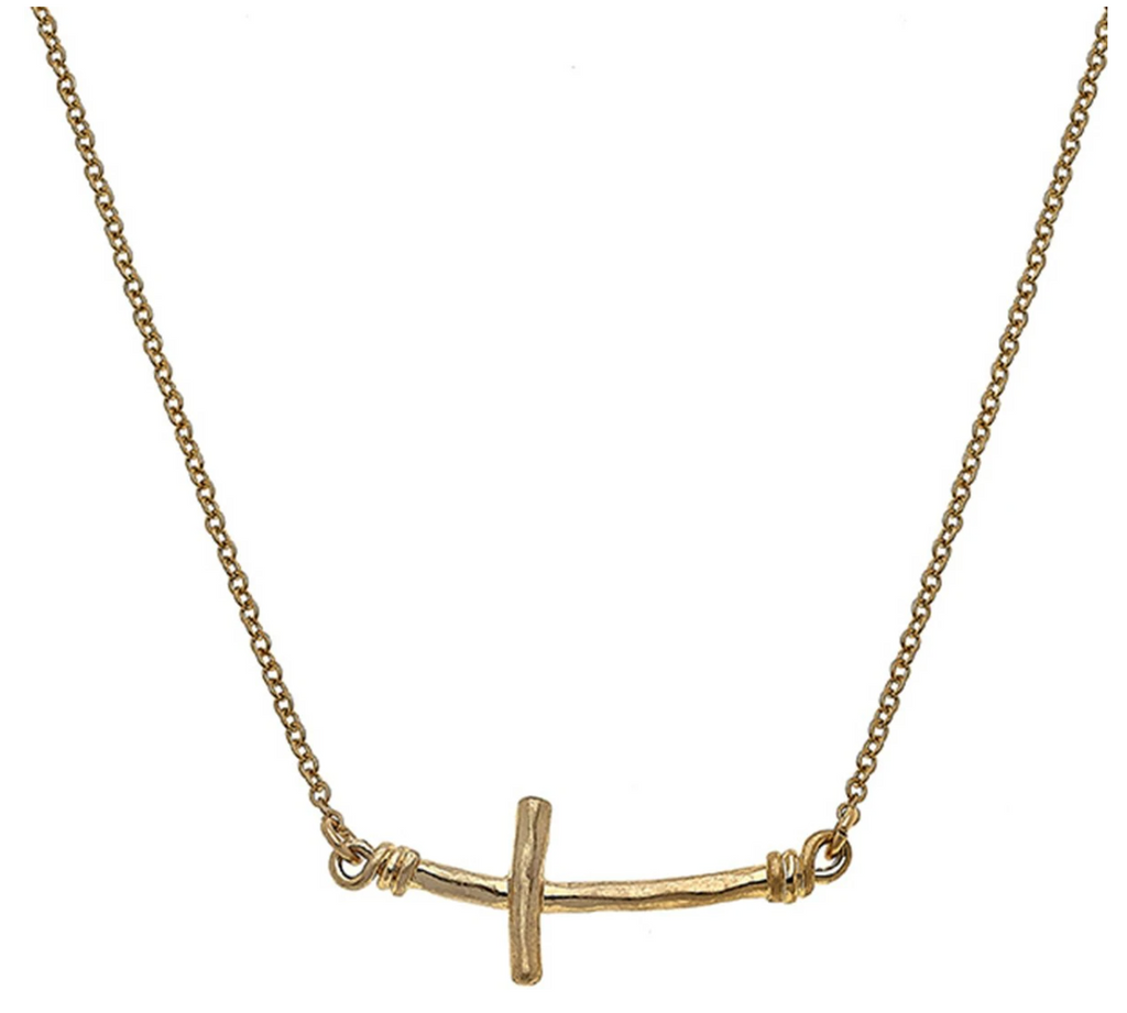 Curved Sideways Cross Necklace - 13 Hub Lane   |  Necklace