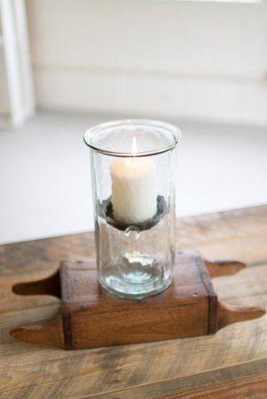 Kalalou Mini Glass Candle Cylinder With Rustic Insert