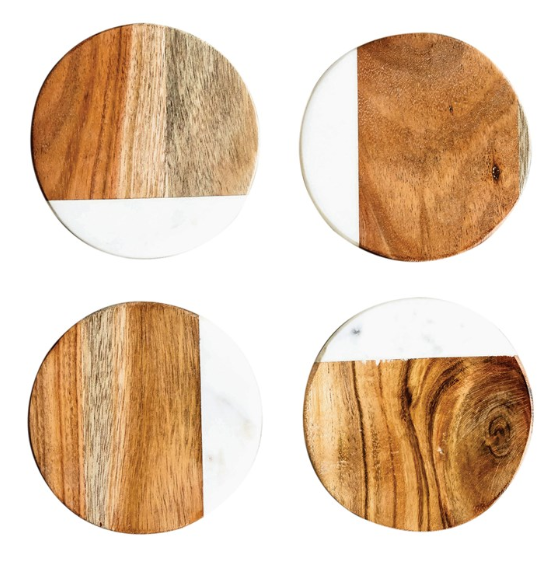 "4"" Marble & Mango Wood Coasters"