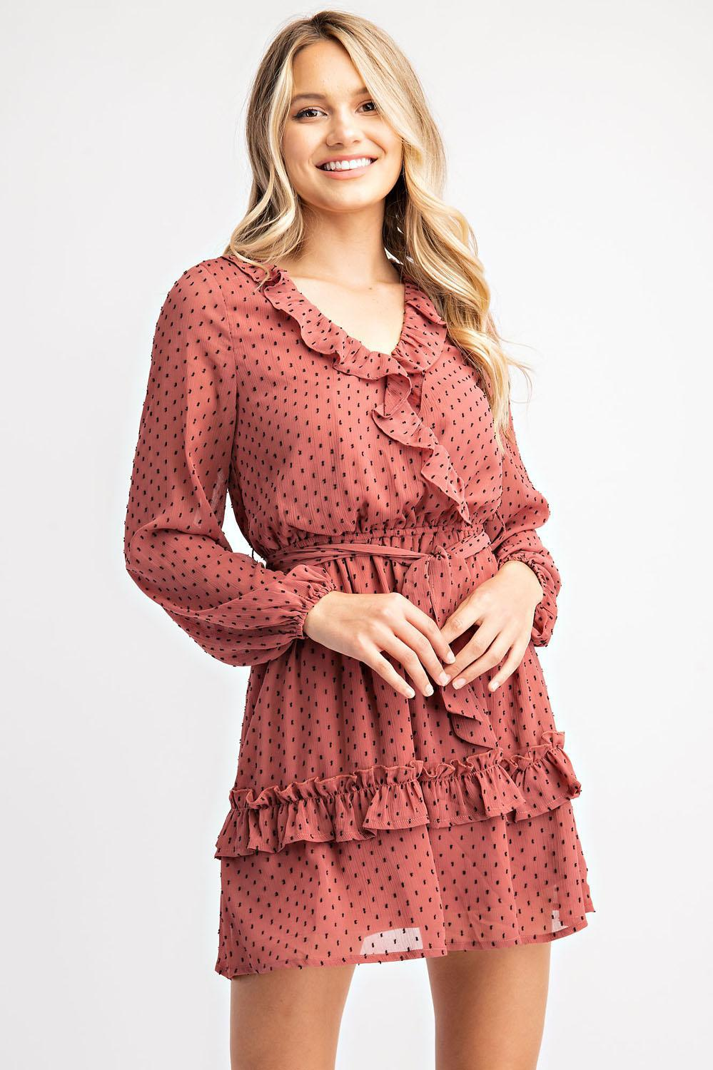 Surplice Ruffled Dress - 13 Hub Lane   |