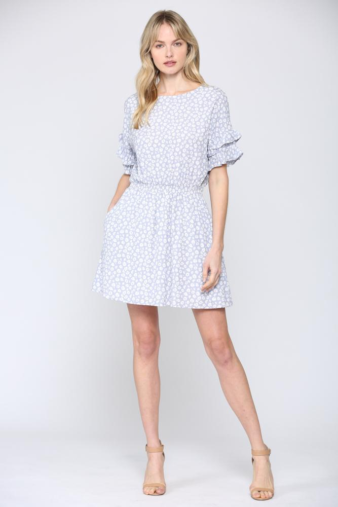 Ditsy Floral Ruffle Sleeve Dress - 13 Hub Lane   |